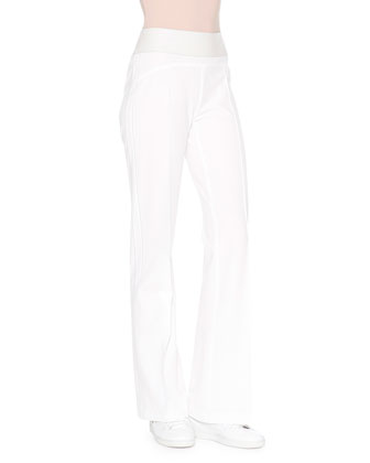 High-Waist Flare-Leg Pants, White
