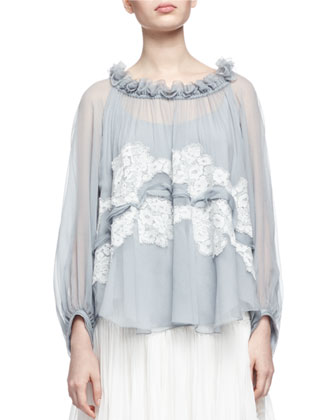 Lace-Trimmed Ruffled-Neck Blouse