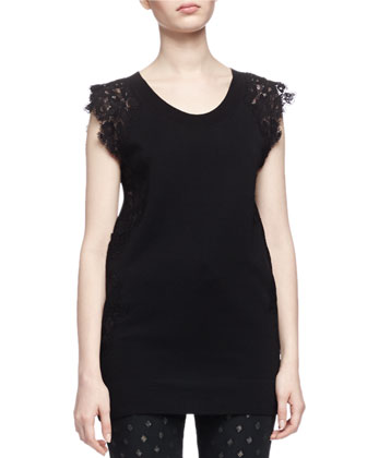 Scoop-Neck Lace-Detail Top, Black