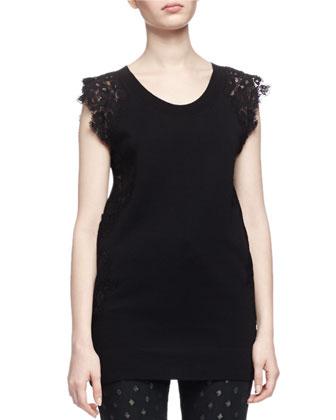 Scoop-Neck Lace-Detail Top, Black
