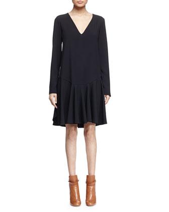 V-Neck Flounce-Hem Dress, Black
