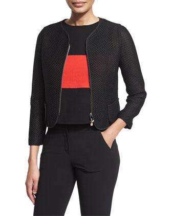 Zip-Front Mesh Cropped Jacket, Black/Multi
