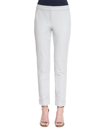 Slim-Leg Folded-Cuff Pants, Light Gray