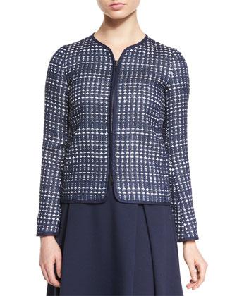 Embroidered Long-Sleeve Jacket, Scoop-Neck Tank Top & Slim-Fit Side-Zip Pants