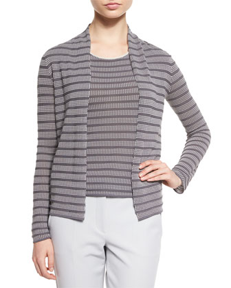 Open-Front Cubic-Knit Cardigan, Cap-Sleeve Cubic-Knit Tee & Slim-Leg ...