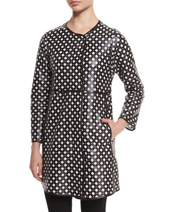 Perforated Leather Coat, Black/White