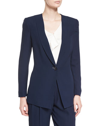 Textured One-Button Blazer, Navy