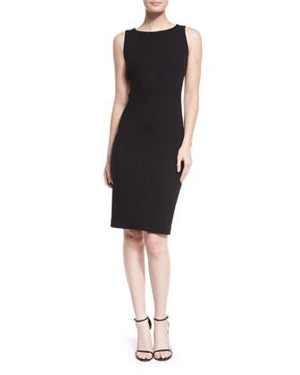 Sleeveless Ruched-Jersey Sheath Dress, Black