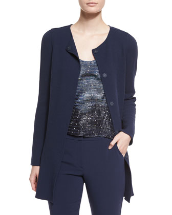 Long-Sleeve Crepe Coat, Embellished Racerback Blouse & Mid-Rise Skinny Pants