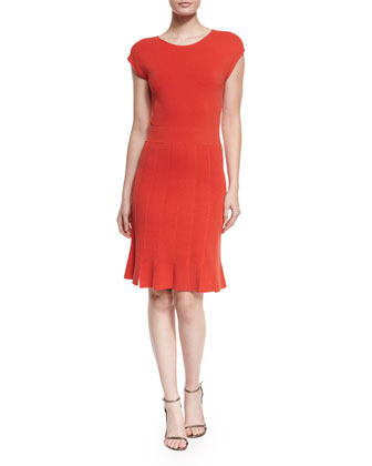 Cap-Sleeve Seamed Dress, Red