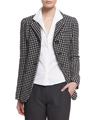 Long-Sleeve Three-Button Blazer, Black/White