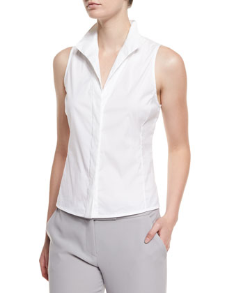 Sleeveless Poplin Button-Front Blouse, White