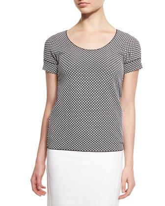 Short-Sleeve Bicolor Tee, Black/White