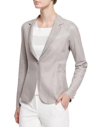 Long-Sleeve Leather Blazer, Light Gray
