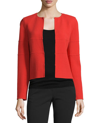 Long-Sleeve Tonal-Striped Jacket, All In Red