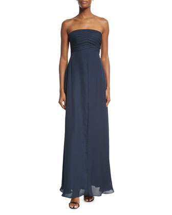 Strapless Pleated-Bodice Gown, Astral Blue