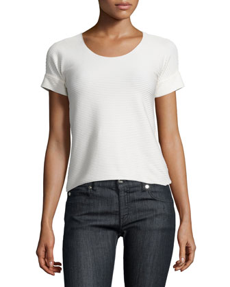 Horizontal-Striped Zip-Front Jacket, Slate/Seashell