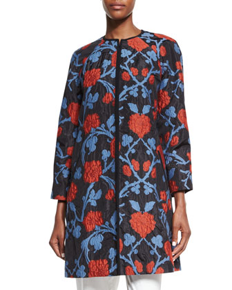 Peony Raglan-Sleeve Duster Coat, Blue/Red