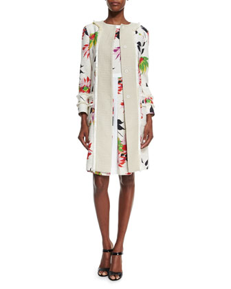 Blossom Long Straight Coat & Blossom Pleated Sheath Dress, White