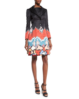 Long-Sleeve Printed Trenchcoat & Sleeveless Printed Fit-&-Flare Dress