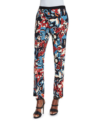 Floral-Print Flared Pants, Black/Blue/Red