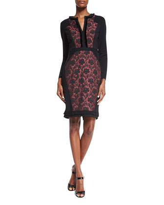 Long-Sleeve Floral-Inset Dress, Black/Raspberry