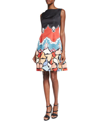 Sleeveless Printed Fit-&-Flare Dress, Black/Red/Blue