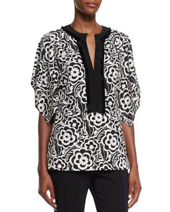 Split-Neck Kimono-Sleeve Blouse, Black/White