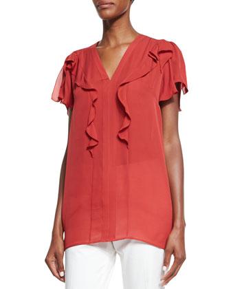 Flutter-Sleeve V-Neck Blouse, Red