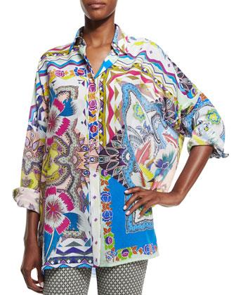 Floral-Print Oversize Shirt, Blue Multi