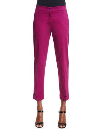 Embroidered Beaded-Fringe Jacket & Straight-Leg Capri Pants