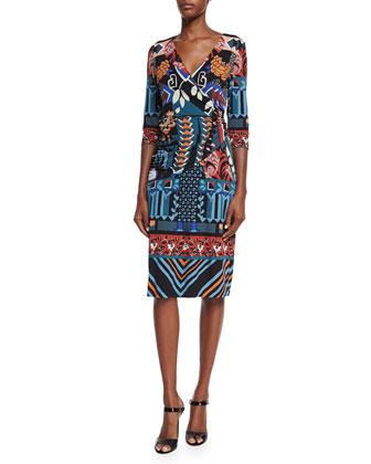3/4-Sleeve Faux-Wrap Dress, Black/Blue/Red