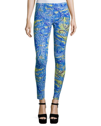 Airbrush Paisley-Print Leggings, Blue/Yellow