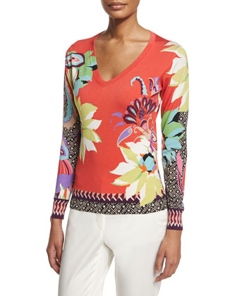 Long-Sleeve Blossom-Print Top, Red/Orange