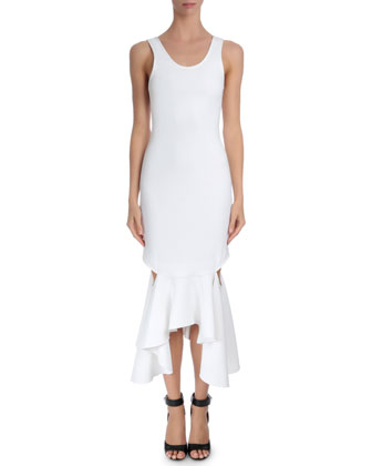 Sleeveless Draped Flounce-Hem Dress, White