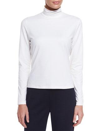 Fine Jersey Long-Sleeve Turtleneck, Bright White