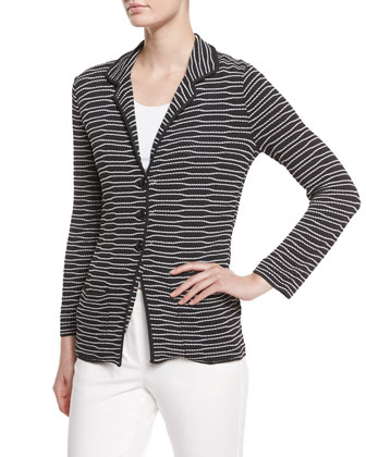 Striped Button-Front Jacket & Slim-Leg Cuff Pants