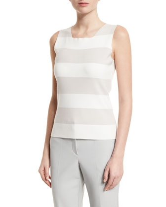 Sleeveless Wide-Stripe Tank, Natural/Multi