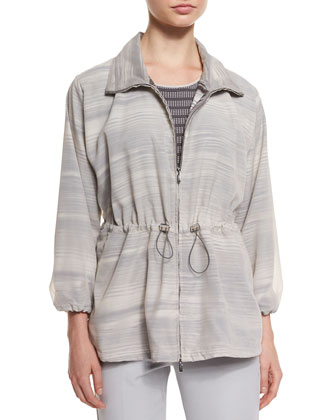 3/4-Sleeve Striped Coat, Cap-Sleeve Cubic-Knit Tee & Slim-Leg Folded-Cuff Pants