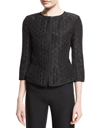 3/4-Sleeve Polka-Dot Jacket, Black