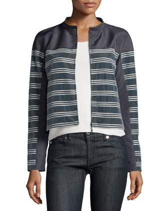 Horizontal-Striped Zip-Front Jacket, Slate/Seashell