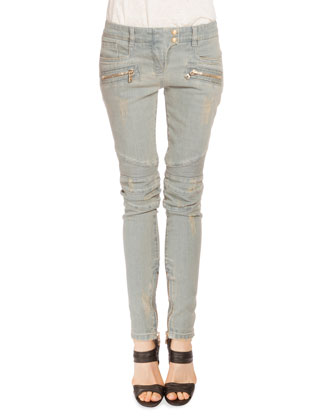 Low-Rise Distressed Skinny Moto Jeans, Light Blue