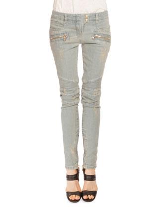 Low-Rise Distressed Skinny Moto Jeans, Light Blue