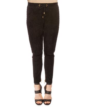 Drawstring-Waist Textured Suede Pants, Black