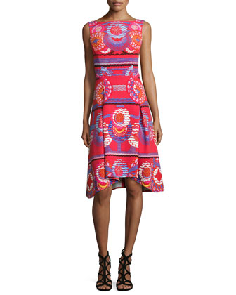 Circle-Print Fit-&-Flare Tank Dress, Red