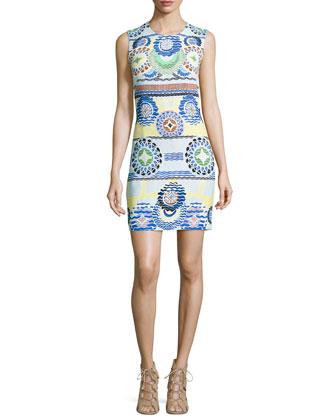 Sleeveless Circle-Print Shift Dress, White