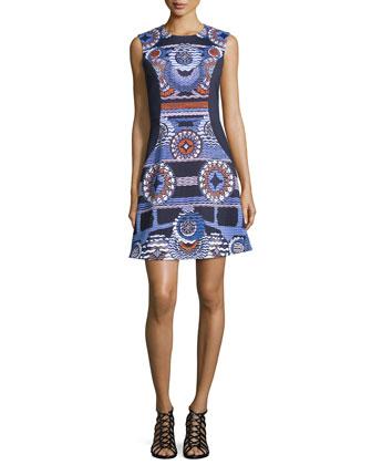 Sleeveless Circle-Print Dress, Navy