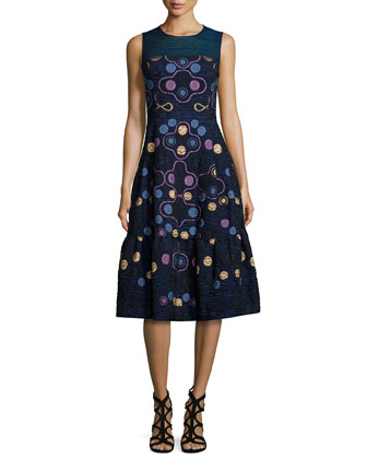 Sleeveless Embroidered Fil Coupe Dress, Navy