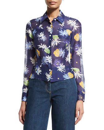 Long-Sleeve Floral-Print Blouse, Navy Multi