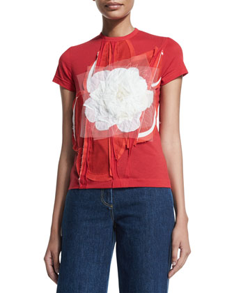 Short-Sleeve T-Shirt W/Tulle Flower Patch, Red